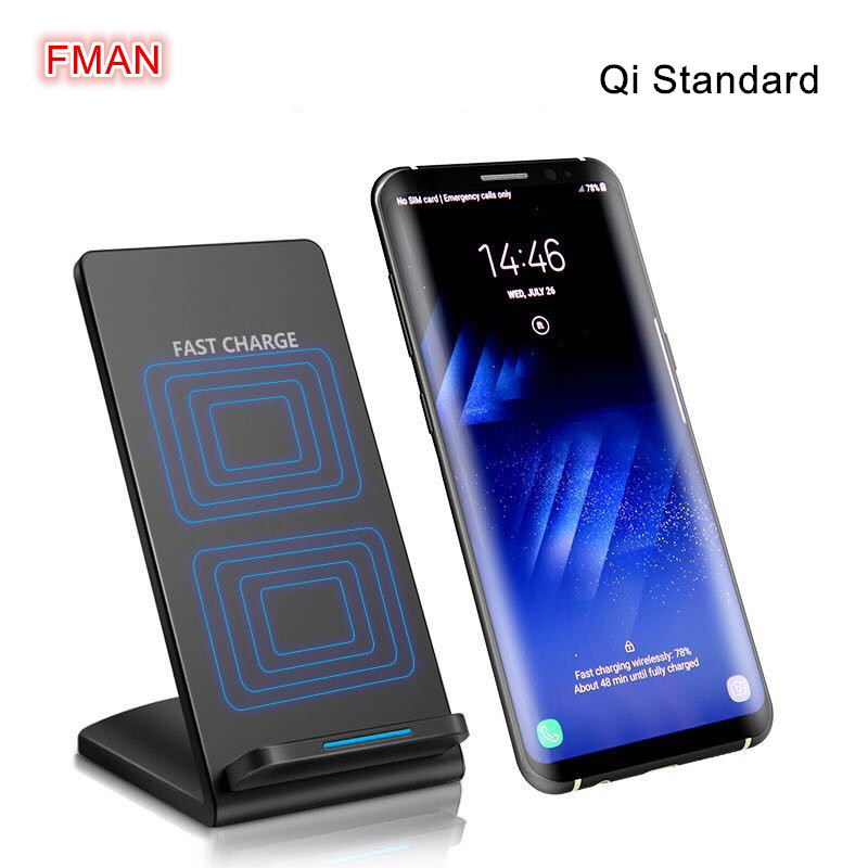 Dual coils 10W qi wireless charger holder fast wireless charging for iPhone 8 X Samsung Galaxy S6 S7 S8