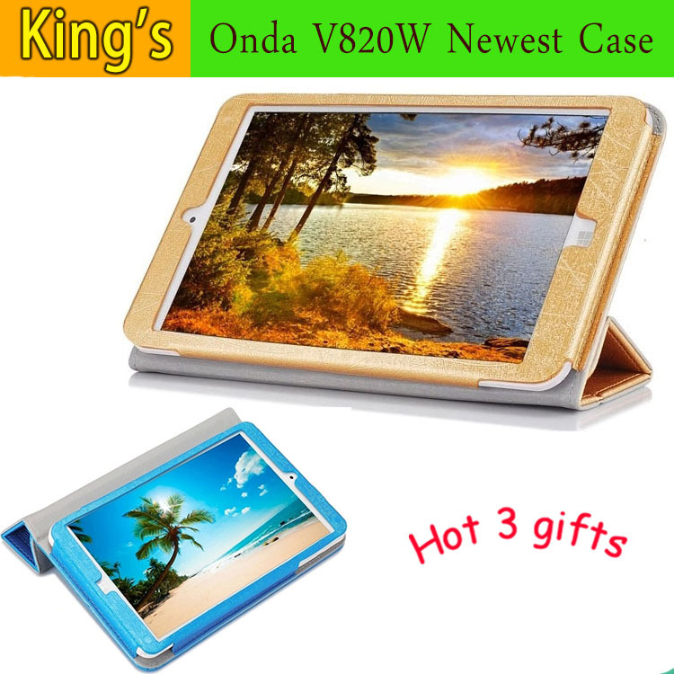 8 inch For Onda V820W 3 fold cover Original Leather Case for onda v820w CH free stylus+phone holder+wiping cloth(China)