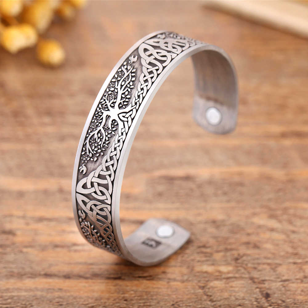 Skyrim Ankle Bracelet  Life Tree Engraved Jewelry Viking Cuff Bangle Silver Plated Magnetic Bracelets Bangles For Man Women Gift