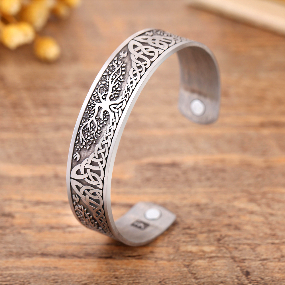 Skyrim Ankle Bracelet Life Tree Engraved Jewelry Viking Cuff Bangle Silver Plated Magnetic