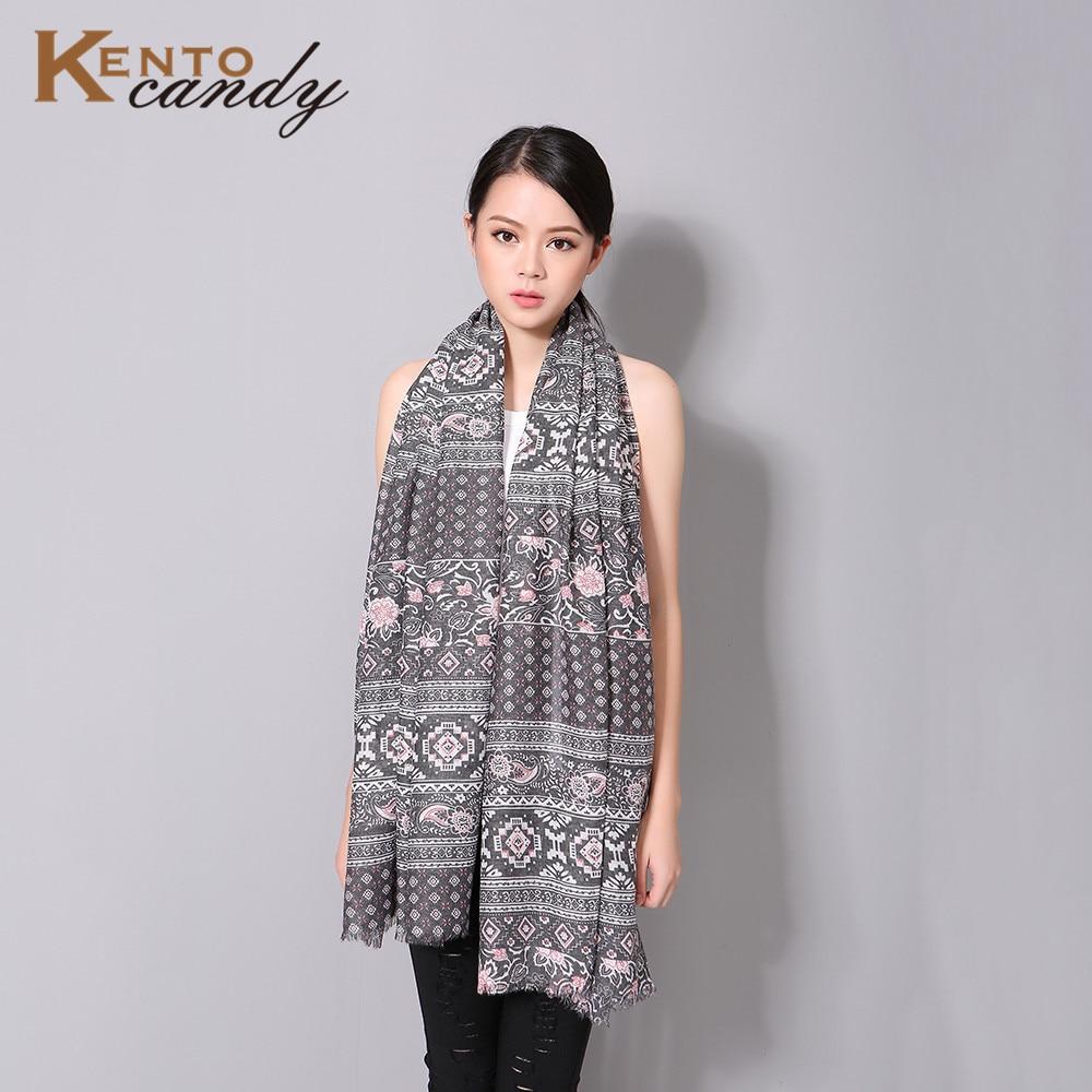 KentoCandy  2016 imprimé Géométrique écharpe femmes pour l hiver poncho  fleur echarpe bandanas coton doux foulard hiver femme lady 2c6691f9440
