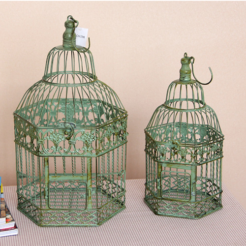 Birdcage Vintage Iron Antique White Home Decorative Wedding Card