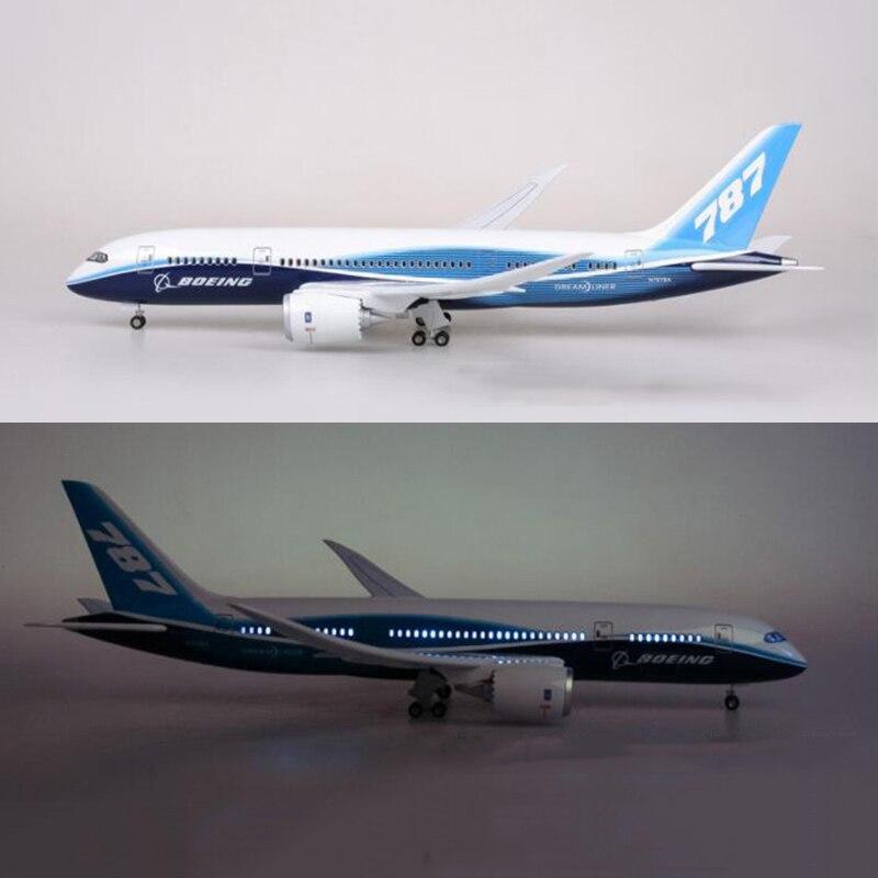 1/130 échelle 47 CM modèle d'avion jouets Boeing B787 Dreamliner modèle d'avion W lumière et roues moulé sous pression en plastique résine avion cadeaux