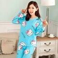 2016 primavera y otoño nueva moda sólido lindo pijamas chándal