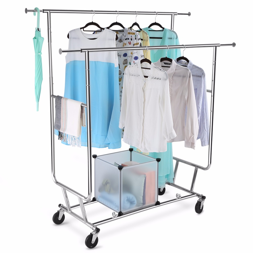 Charmant LANGRIA Collapsible Adjustable Double Rail Rolling Garment Rack Clothing  Drying Hanging Racks 250 Lbs Capacity Chrome Finish In Storage Holders U0026  Racks From ...