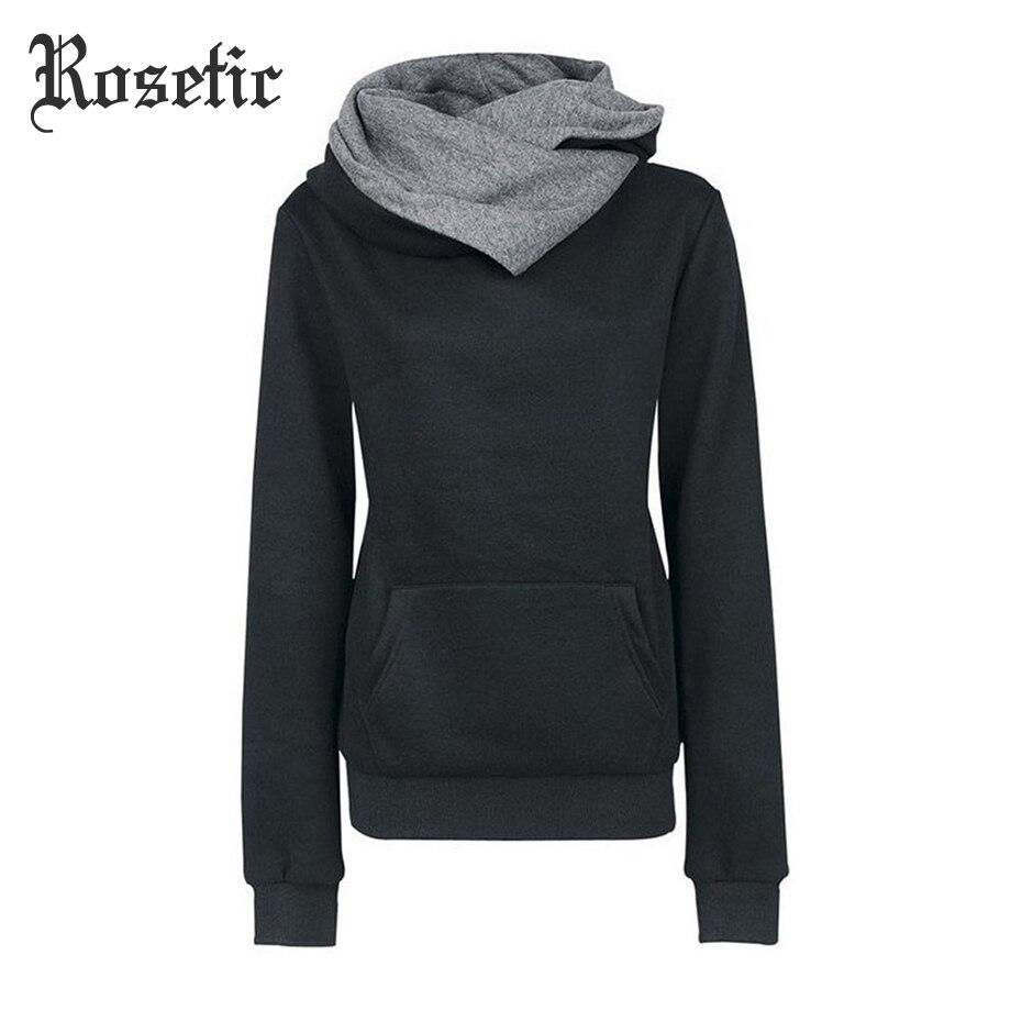 Rosetic Women Hooded Winter Casual Hoodies Women Slim Long Sleeve -3985