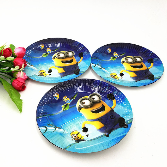10PCS/LOT MINIONS PLATES MINIONS PARTY DISHES KIDS BIRTHDAY PARTY FAVORS  BIRTHDAY PARTY SUPPLIES MINIONS