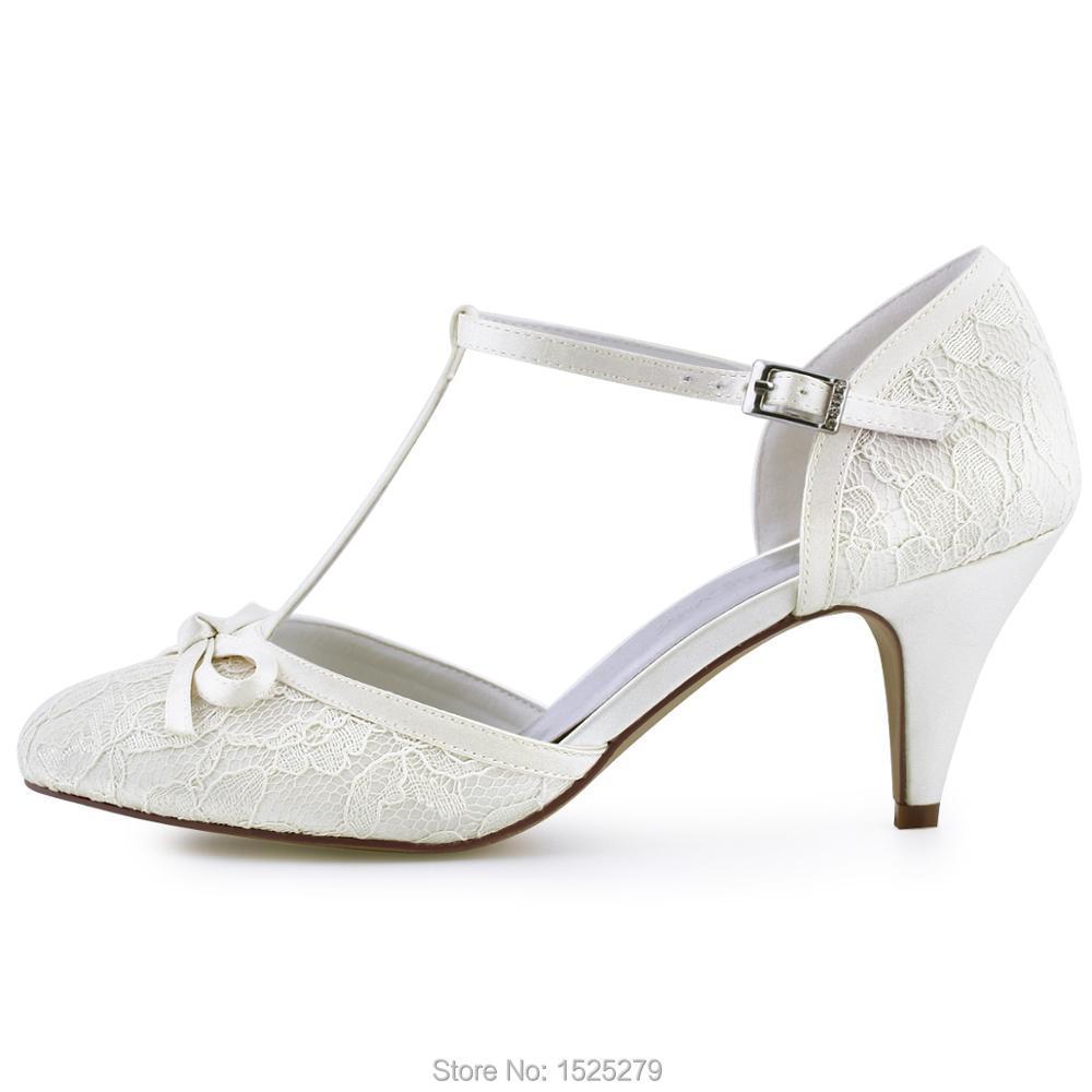 Soirée Ivory Arcs Mariage Blanc white Hc1721 T De Femme Fermé Chaussures Pompes Dentelle strap Orteil Ivoire Mariée P6qfZ0Cnwx