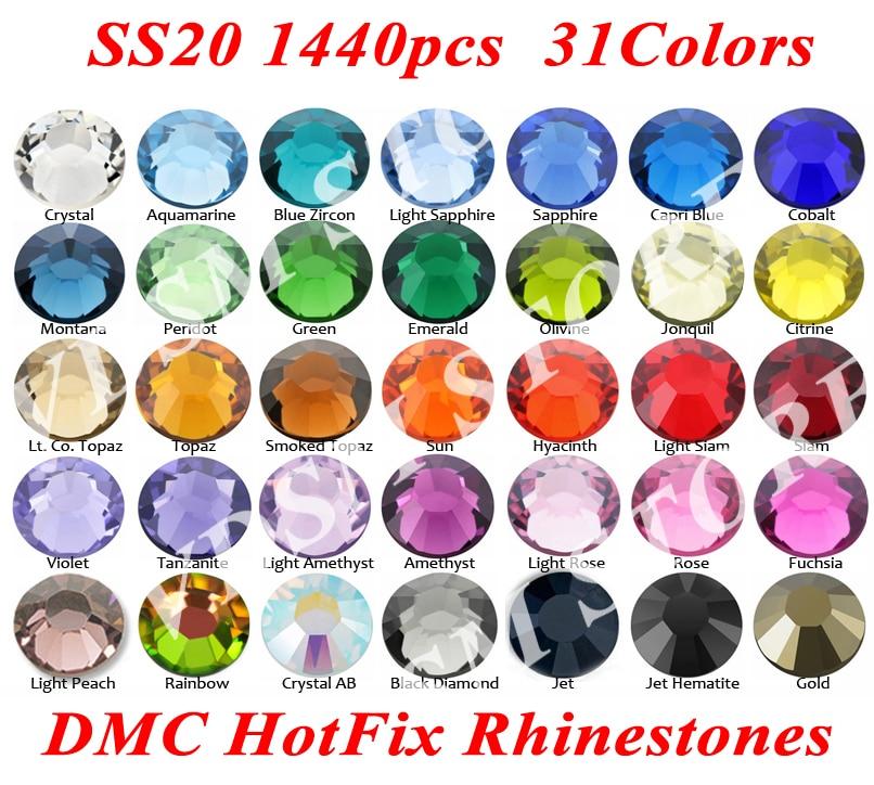 1440pcs/bag SS20(4.8~5.0mm) 31 Colors DMC Flatback Crystals Hot Fix Rhinestones, Glass Strass Sewing & Fabric Garment Rhinestone