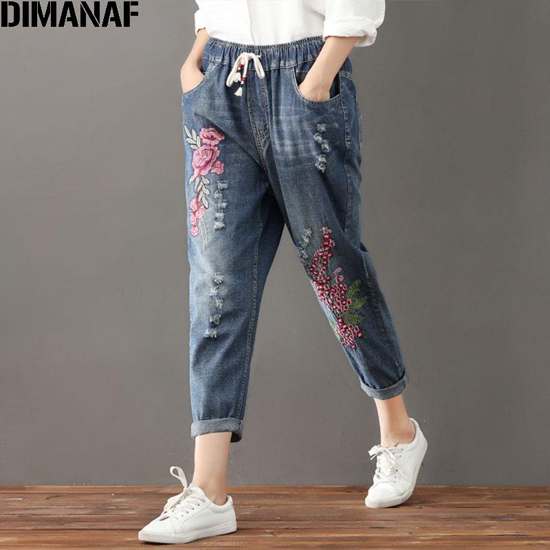 DIMANAF Plus Size Women Jeans Autumn Harem Pants Embroidery Floral Elastic Waist Oversize Vintage Trousers  New Ripped Jeans 3XL