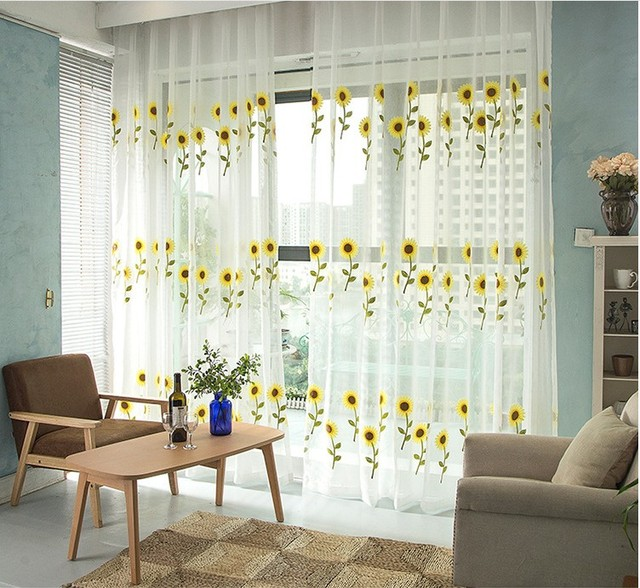 Window Screening Balcony Finished Product Design Sunflower Tulle Curtain  Living Room Sunflower Kitchen Curtains