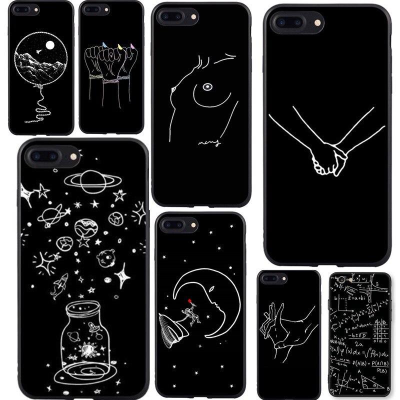 Soft Tpu Phone Case For iPhone 6 S 7 8 Plus X 5 5s SE Cover Cute Cartoon Love Heart Soft TPU Black For Capa iPhone 6 s Capinha iPhone