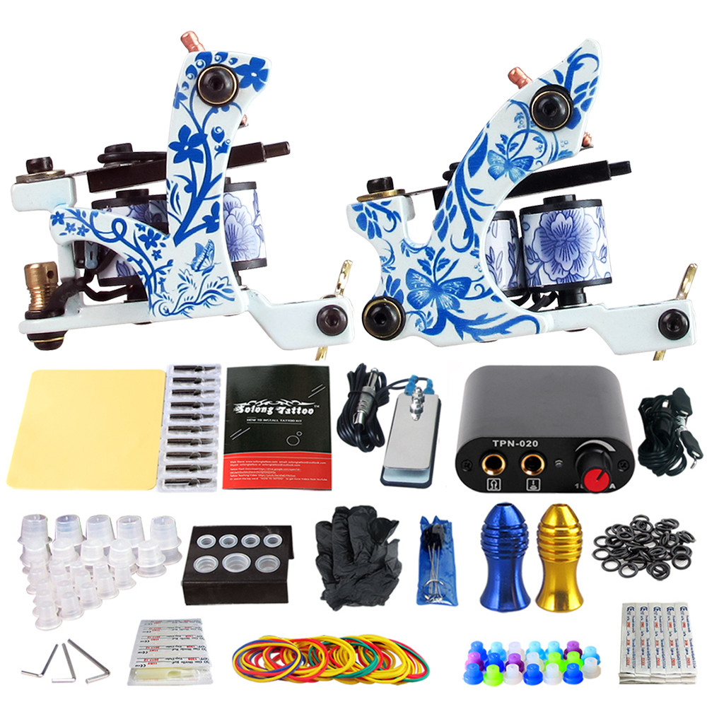 Complete Tattoo Machine Kit Set 2 Coils Guns Sets Grips Body Arts Supplies Needles Tips Tattoo Beginner Kits TK201-41 usa dispatch complete beginner tattoo kit 3 machines guns lcd power needles tips grips set equipment supplies