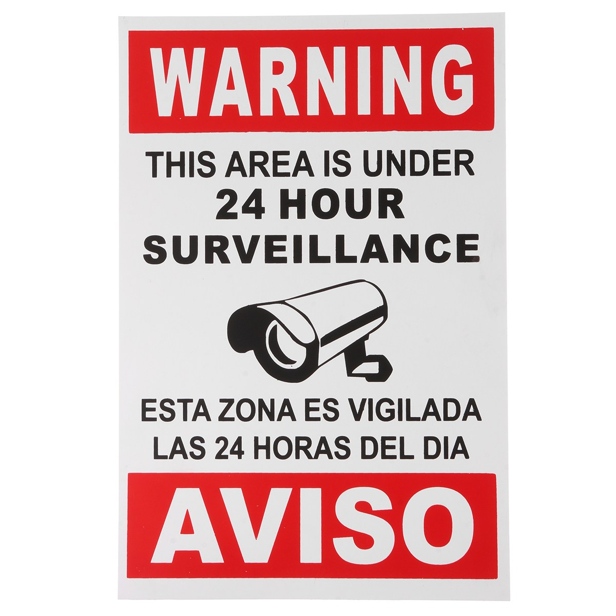 Safurance Warning This Area Is Under 24 Hour Surveillance English & Spanish Security Sign CCTV Home Safety цены