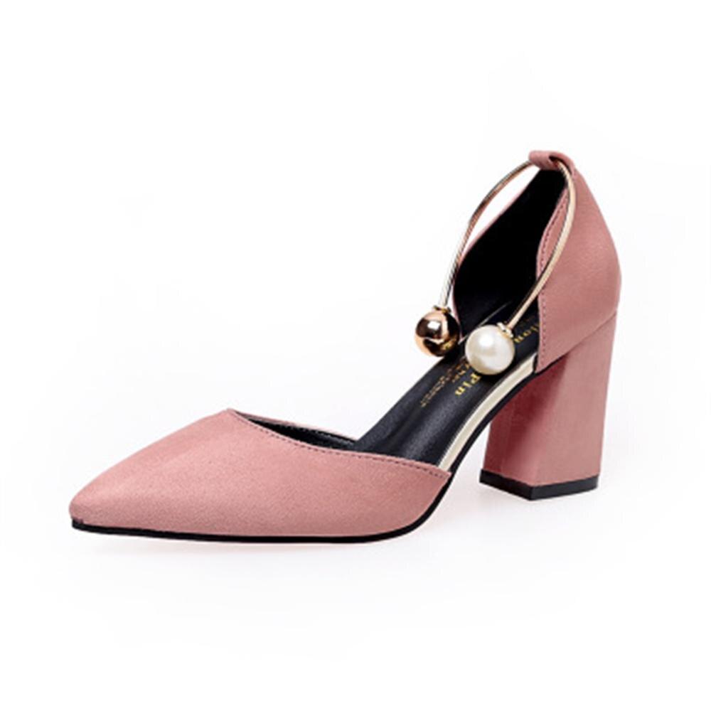 IF FEEL Women Sandals High Heels Summer Women Shoes Gladiator Sandals Block Heels Pearl Strap Women <font><b>Pumps</b></font> Chunky Heels Shoes 8cm