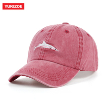 100% algodón lavado gorra de béisbol de los hombres sombreros tiburón  bordado sombrero de papá para las mujeres 7b852110852