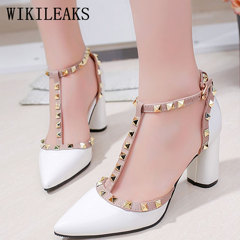 women shoes high heel stiletto mary jane shoes woman pumps sexy high heels wedding shoes pointed toe t-bar rivets sandals ankle