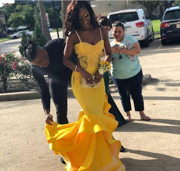 South African Black Girls Prom Dresses 2019 Yellow Mermaid Appliques Pageant Holidays Graduation Wear Formal Evening Party Gowns