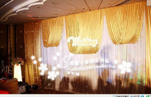 Lastest Wedding Backdrops with luxurious Gold Swag for Wedding Decorations 3m*6m with sequin