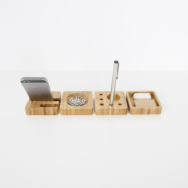 Bamboo Office Desk Organizer Creative Modern Style Square Table Storage Box  Wooded Stationary Container Cards Holder