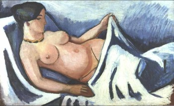 High quality Oil painting Canvas Reproductions Reclining female nude  By August Macke hand painted