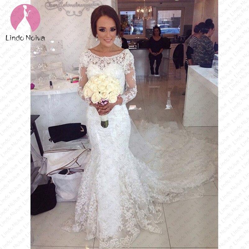 Vestido De Noiva Luxury Lace Mermaid Wedding Dresses Long Sleeves 2019 Sexy Marriage Bride Dress Illusion Back Wedding Gowns