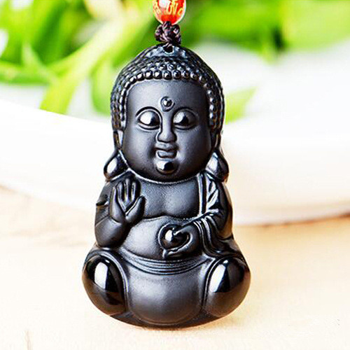 Chinese Handwork Natural Black Obsidian Carved Baby Sakyamuni Buddha Amulet Lucky crystal pendant  Beads necklace Fashion gifts