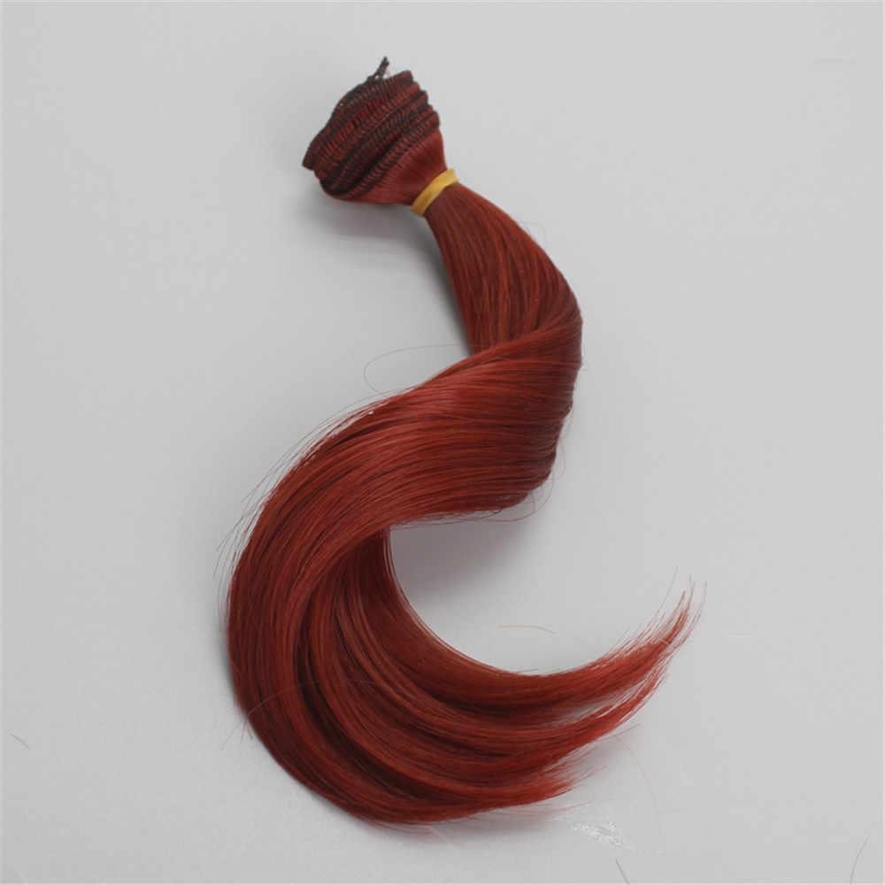 Een Stuk MUZIWIG 15 cm Haarverlenging Hoge Slip Fiber Kaki Rood Groen Roze Haar Inslag DIY BJD/SD pop Pruiken