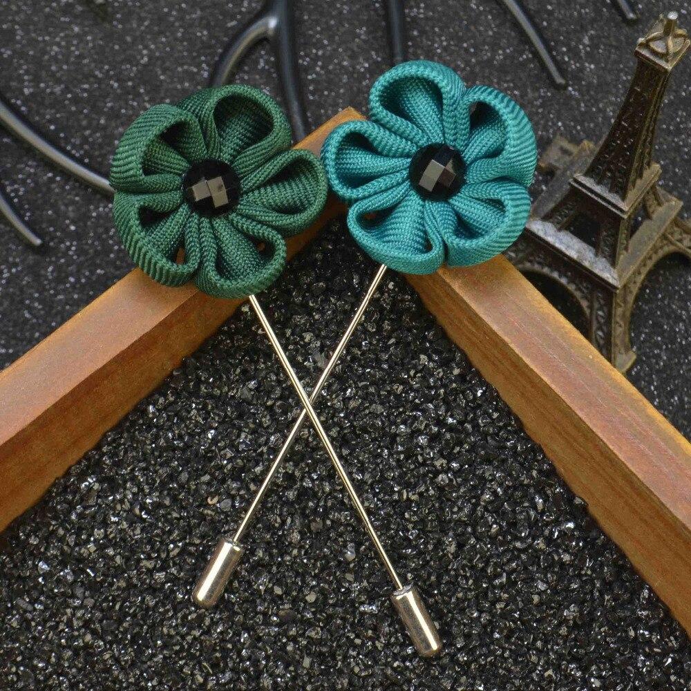Lapel Flower Camellia Boutonniere Stick Brooch Pin Mens