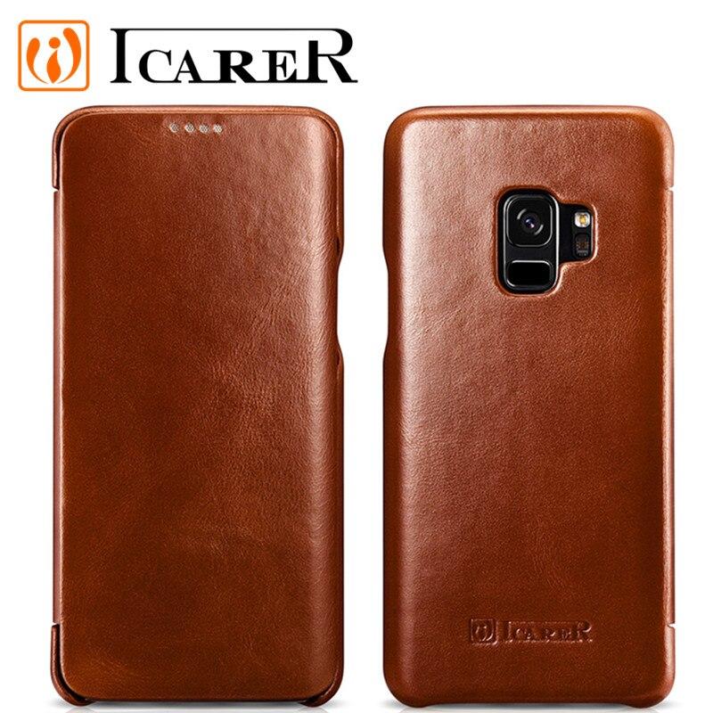 S9 étui pour Samsung Galaxy S9 étui flip housse en cuir véritable pour Samsung S9 étui classique de la marque funda Icare coque capa