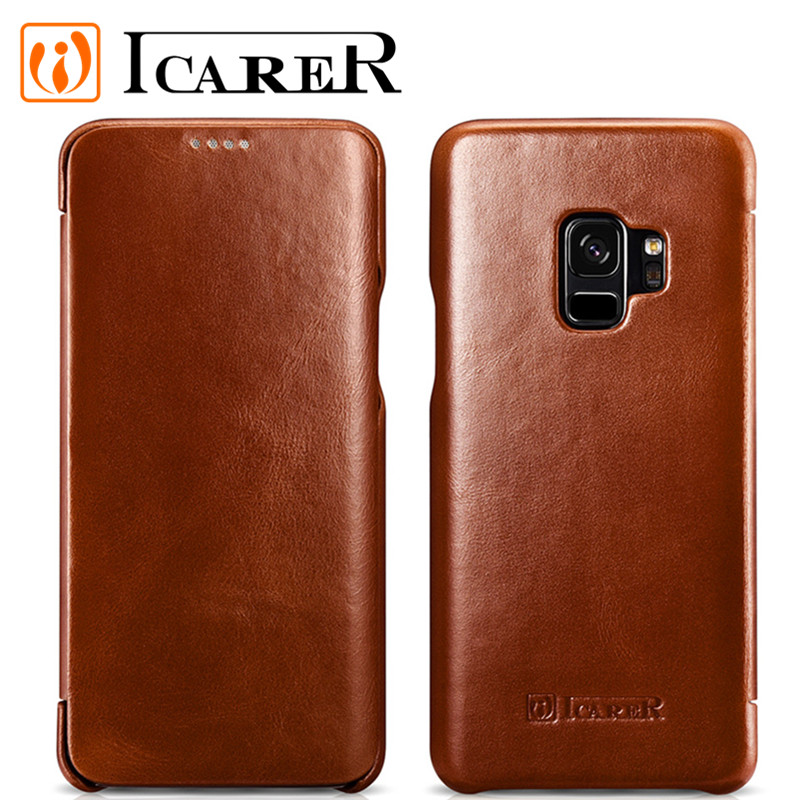 S9 case for Samsung Galaxy S9 case flip Genuine leather cover for Samsung S9 case classic funda Brand Icare coque capa