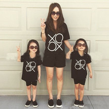 2017 Casual Summer Baby Kids Mom XXOO Short Sleeve T-shirt Toddler Family Matching Shirt Clothes Tee Tops