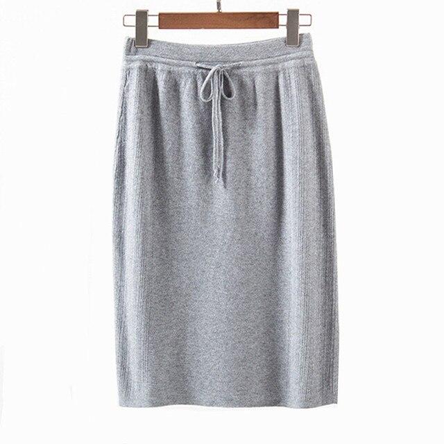 2017 New Autumn Winter Skirts Women High Waist Knee-length Knitted Pencil Skirt Elegant Slim Skirts Black Skirt For Womens