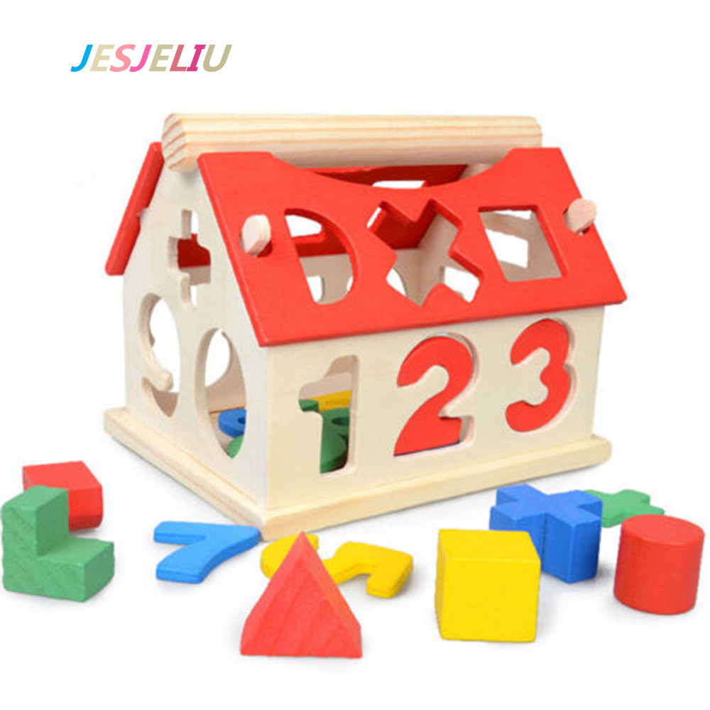Blocks House Kids Mathematics Tools Intellectual Developmental Building Educational Toys Baby Wood Teaching Resources Gift diy solar electronic building blocks circuit teaching aids kids educational creative physics development toys intelligence gift
