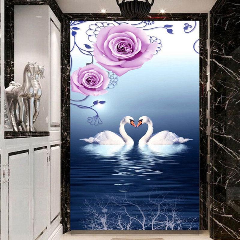 Custom Photo Wallpaper Beautiful White Swan Lake 3D Stereo Mural Hotel Lobby Living Room Entrance Cozy Decor Backdrop Wallpaper