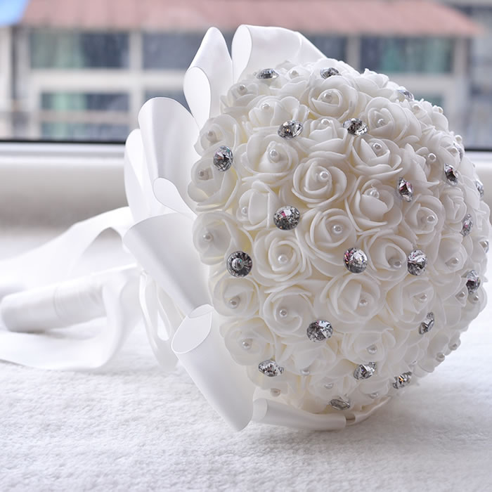 Kyunovia white wedding flowers bridal bridesmaid bouquets buque de kyunovia white wedding flowers bridal bridesmaid bouquets buque de flores artificial rose sparkle crystal wedding bouquet a0001 in wedding bouquets from mightylinksfo