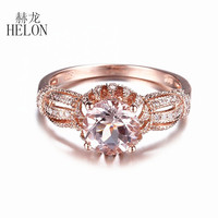HELON Solid 10K Rose Gold Elegant Women Jewelry Round 7MM 1.21ct Natural Morganite Diamond Ring Gemstone Engagement Wedding Ring