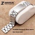Assista mulheres homens 16 mm 18 mm 20 mm 22 mm 24 mm 26 mm prata aço inoxidável relógio de pulseira reta Fit relógio inteligente