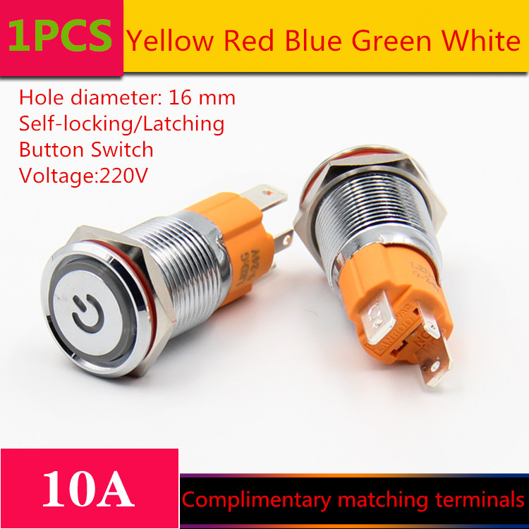 1PCS YT1211 Hole Size 16 mm Self-locking/Latching switch Metal push button switch With LED Light 220 V 10A Sell at a Loss 1pcs yt976b 16 mm metal push button switch self locking latch switch with led lights 220v free shipping