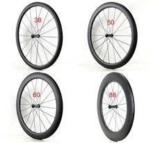 Enkele voorwielen 700C 38/50/60/88mm diepte 25mm breedte Clincher/tubula Road fiets carbon wielen UD matte afwerking Gratis verzending