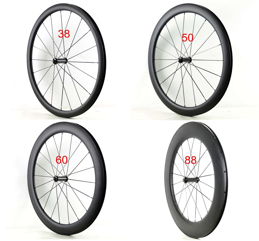 Single Front wheels 700C 38/50/60/88mm depth 25mm width Clincher/tubula Road bicycle carbon wheels UD matte finish Free shipping csc 700c single front or rear wheel 23mm wide 24 38 50 60 88mm depth r13 hub clincher tubular carbon road bike wheels