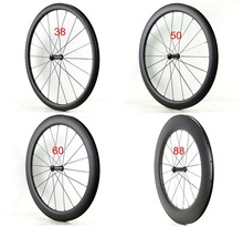 Single Front wheels 700C 38/50/60/88mm depth 25mm width Clincher/tubula Road bicycle carbon wheels UD matte finish Free shipping