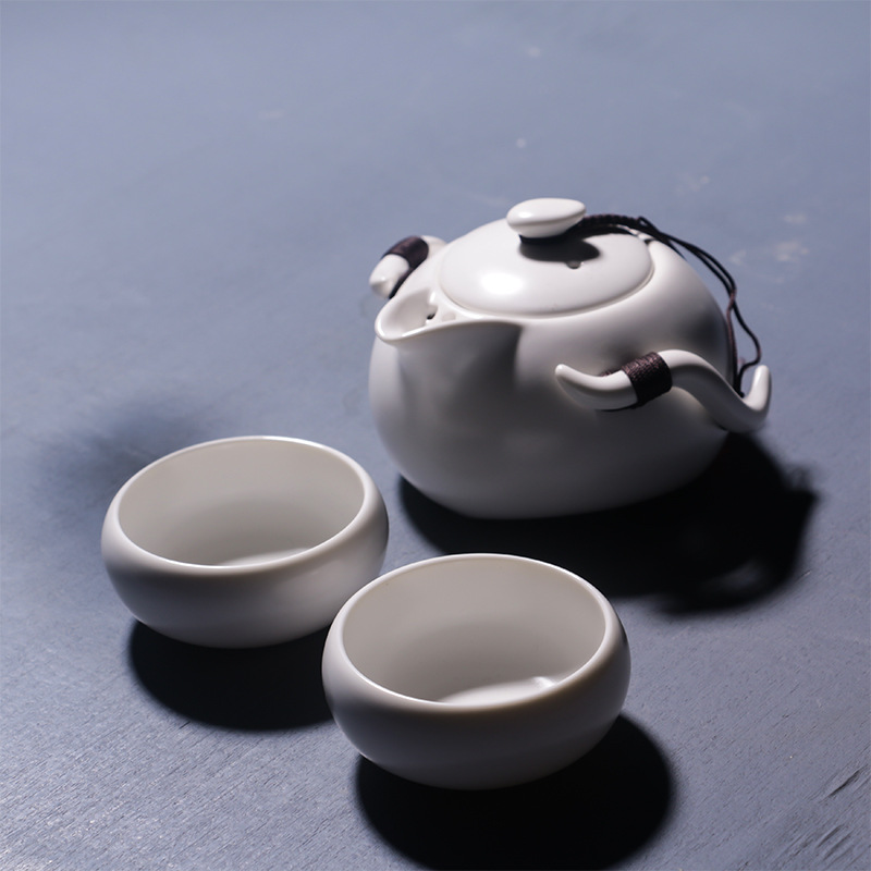 Tea Set Chinese Travel Ceramic Portable One Teapot Two Cups of Portable Travel Kung Fu Ceramic