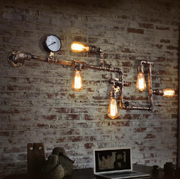 Industrial Interior Lighting Fixtures: Pipe Wall Lamp Loft Industrial Vintage Edison Bulb E27