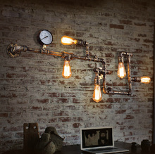 Wall light industrial loft balcony creative personality retro American restaurant bar iron pipe wall lamp aisle lighting цена 2017