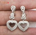 Free Shipping!! Width8.5 x Length 7.5mm  heart Natural Diamond 14K White Gold Semi-Mount Earrings