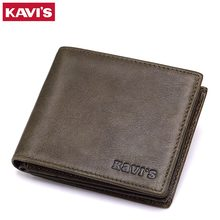 KAVIS Leather Wallets Mens Brand Leather Card Holder with Male Coin Purse for Zipper Walet Portomonee Rfid PORTFOLIO Small Mini(China)