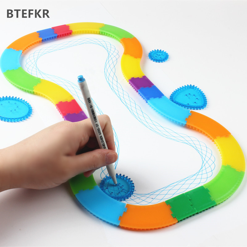 28pcs Spirograph Drawing Toy Set Creative Designs Painting Learning Educational Toys For Kids Spiral Rail Frame Drawing Toy
