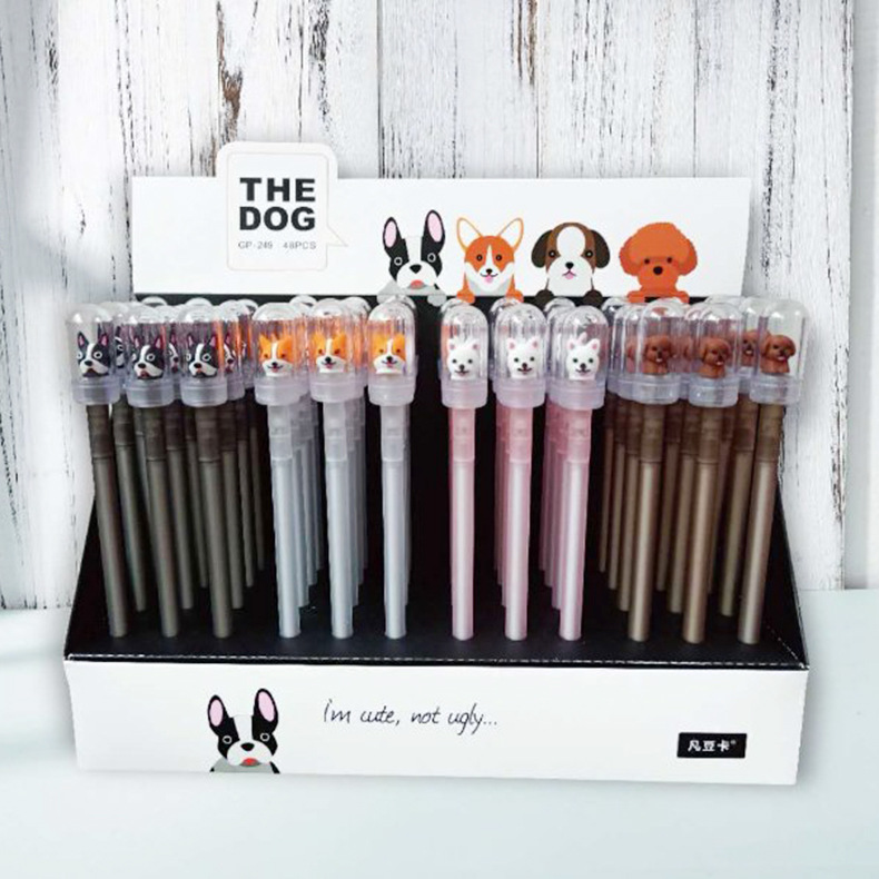 48 pcs Kwaii Gel Pens Cartoon Dog black colored gel inkpens for writing Cute stationery office school supplies-in Gel Pens from Office & School Supplies