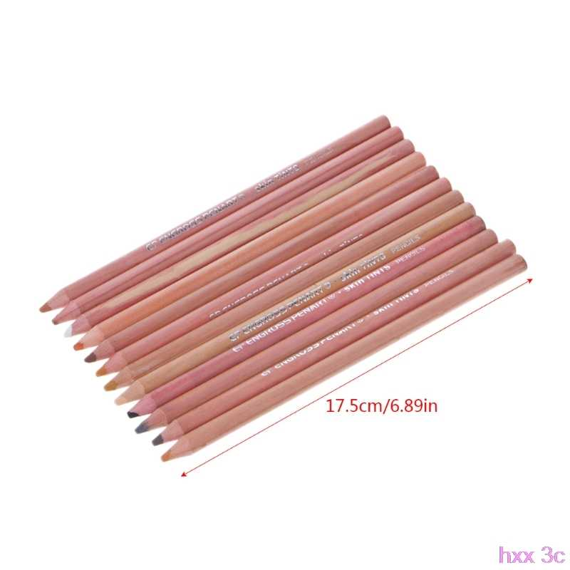 New 12Pcs Professional Soft Pastel Pencils Wood Skin Tint Pastel Colored Pencil